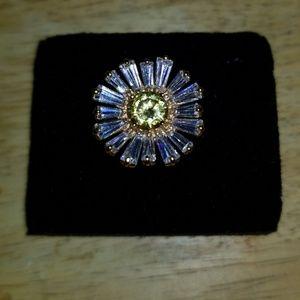 TECHNIBOND 18K GOLD/STERLING CUBIC ZIRCONIA RING 8